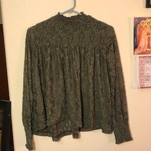 Anthropologie Mock Turtleneck Olive Green Lace Top
